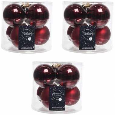 18x donkerrode glazen kerstballen 8 cm glans en mat