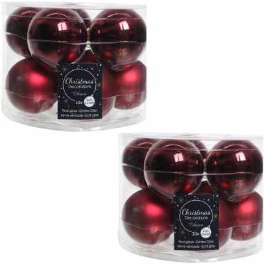 20x donkerrode glazen kerstballen 6 cm glans en mat
