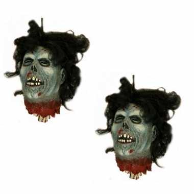 2x stuks horror zombie hoofd hangdecoratie 30 cm
