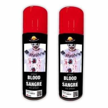 2x stuks kunstbloed spray voor lichaam en kleding 75 ml