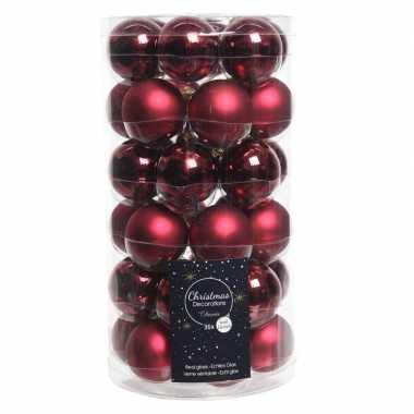 36x donkerrode kleine glazen kerstballen 4 cm mat en glans