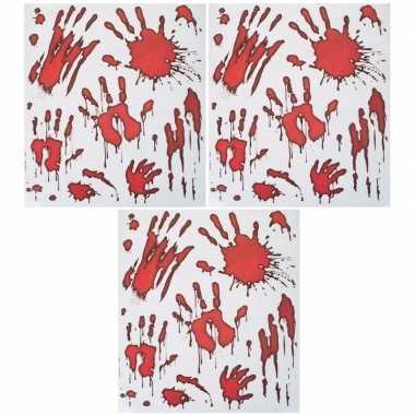 3x horror raamstickers bloedende handafdrukken set