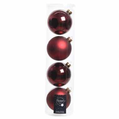 4x donkerrode glazen kerstballen 10 cm glans en mat