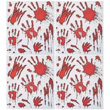 4x horror raamstickers bloedende handafdrukken set