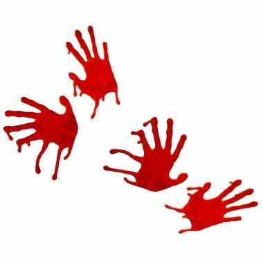 4x stuks bloederige horror handafdrukken raamdecoratie