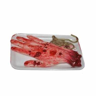 Afgehakte horror hand met vleeshaak halloween