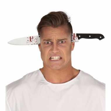 Halloween bebloed mes door het hoofd diadeem