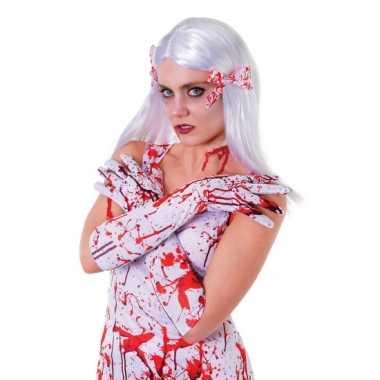 Halloween bebloede witte handschoenen voor dames