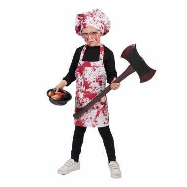 Halloween - bloederig schort met koksmuts voor kinderen