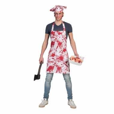 Halloween - bloederig schort met koksmuts voor volwassenen