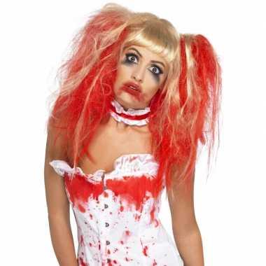 Halloween - blonde damespruik met rode plukken