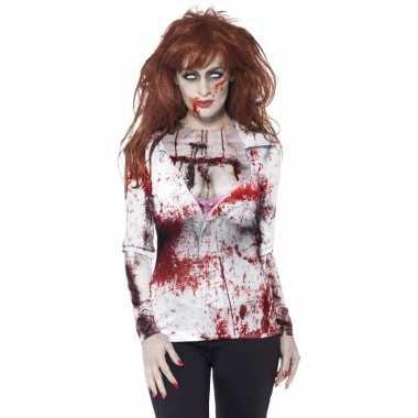 Halloween - dames shirt met bloederige zombie opdruk