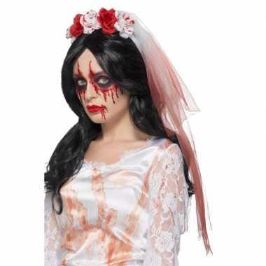 Halloween haarband met bebloede sluier en rozen