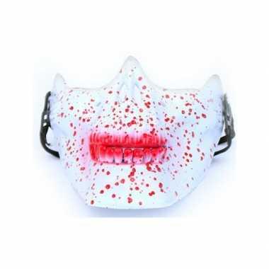 Halloween - half gezichtsmasker wit schedel met bloed