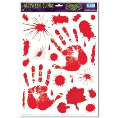 Halloween - halloween raamsticker met bloed handen