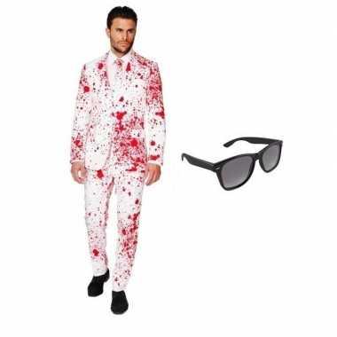 Halloween - heren kostuum met bloed print maat 46 (s) met gratis zonn