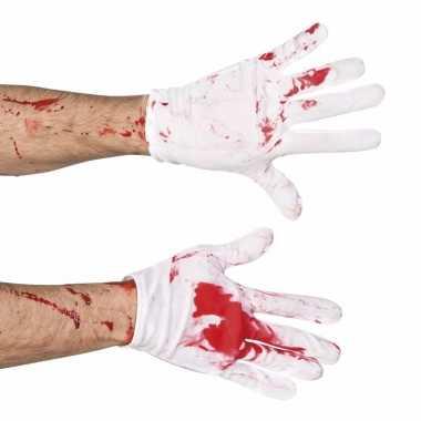 Halloween korte witte handschoenen met bloed
