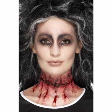 Halloween - latex gehechte nepwond in de nek