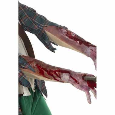 Halloween - latex mouw met littekens en bloed
