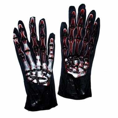 Halloween - skelet handschoenen met bloed
