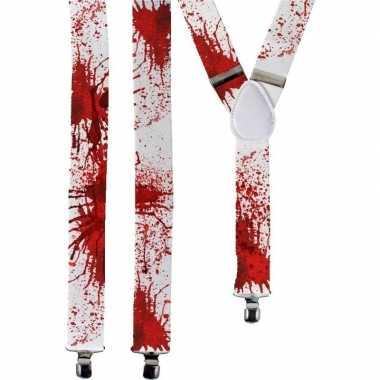 Halloween witte bretels met bloedvlekken voor volwassenen