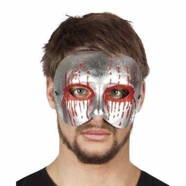 Halloween - zilver bebloed oogmasker voor heren