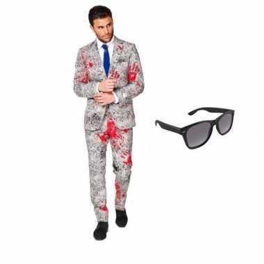 Halloween - zombie heren kostuum maat 50 (l) met gratis zonnebril