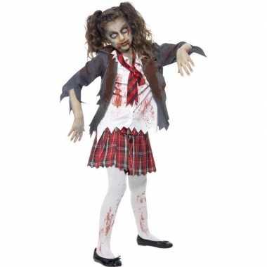 Halloween zombie schoolmeisje kostuum voor meisjes