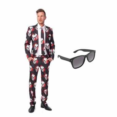 Schedel print heren kostuum maat 52 (xl) met gratis zonnebril
