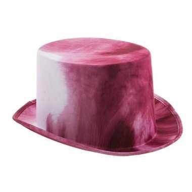 Wit/bloedrode halloween hoge hoed voor volwassenen