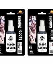 2x stuks zwart horror nepbloed spray 60 ml