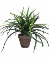 Groene dracaena kunstplant in bruine pot 34 cm