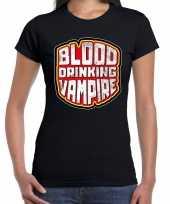 Halloween blood drinking vampire verkleed t-shirt zwart voor dam