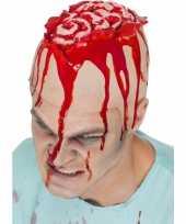 Halloween latex hoofdkap met openliggende hersenpan